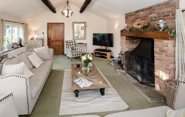 Curl up and relax in front of the warm fire