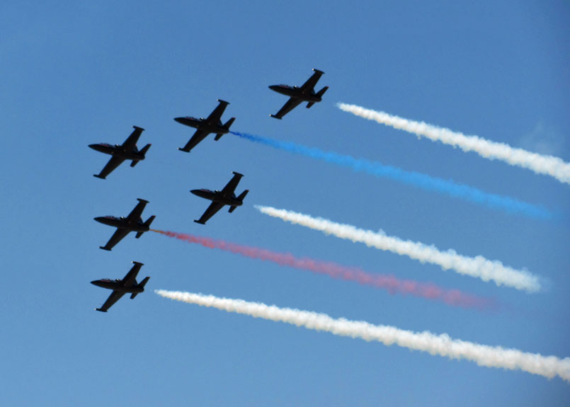 Patriots Jet Team performing at the 2012 March AirFest at the March Air Reserve Base.