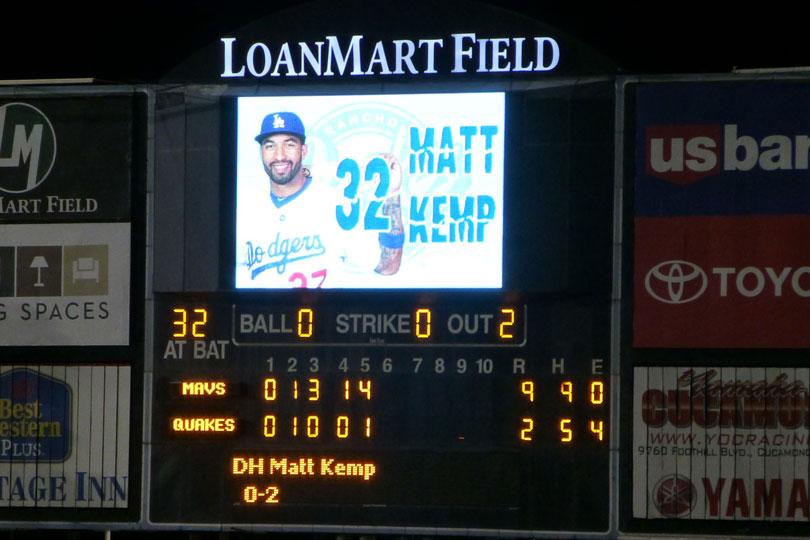 Matt Kemp batting DH for the Quakes