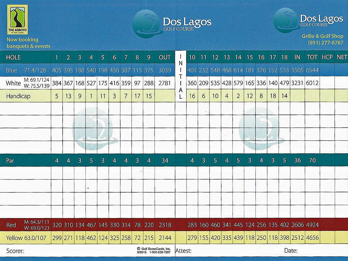 Dos Lagos Golf Scorecard