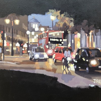 London Rush 2 by Jennifer Greenland, original painting, Riverside Gallery Barnes