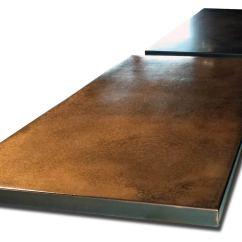 Zinc Top Kitchen Island Pots Copper With Dark Patina - Restaurant Counter