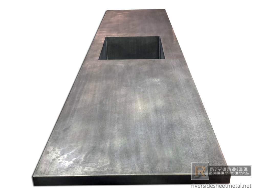 kitchen sink types materials bench cushions zinc counter top with integrated & dark patina matte ...