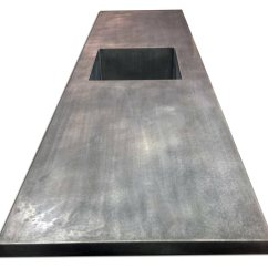 Best Kitchen Hood Island With Seating For 2 Zinc Counter Top Integrated Sink & Dark Patina Matte ...