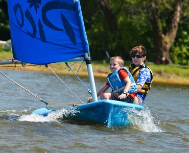 Image of two people sailing in Pico sailboat on Lake Hefner