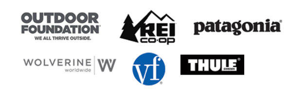 Logo Field including Outdoor Foundation, REI, Patagonia, Thule, VF, and Wolverine Worldwide
