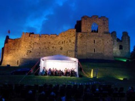 "alt=""Oystermouth castle event at night photo, Swansea, South Wales"""