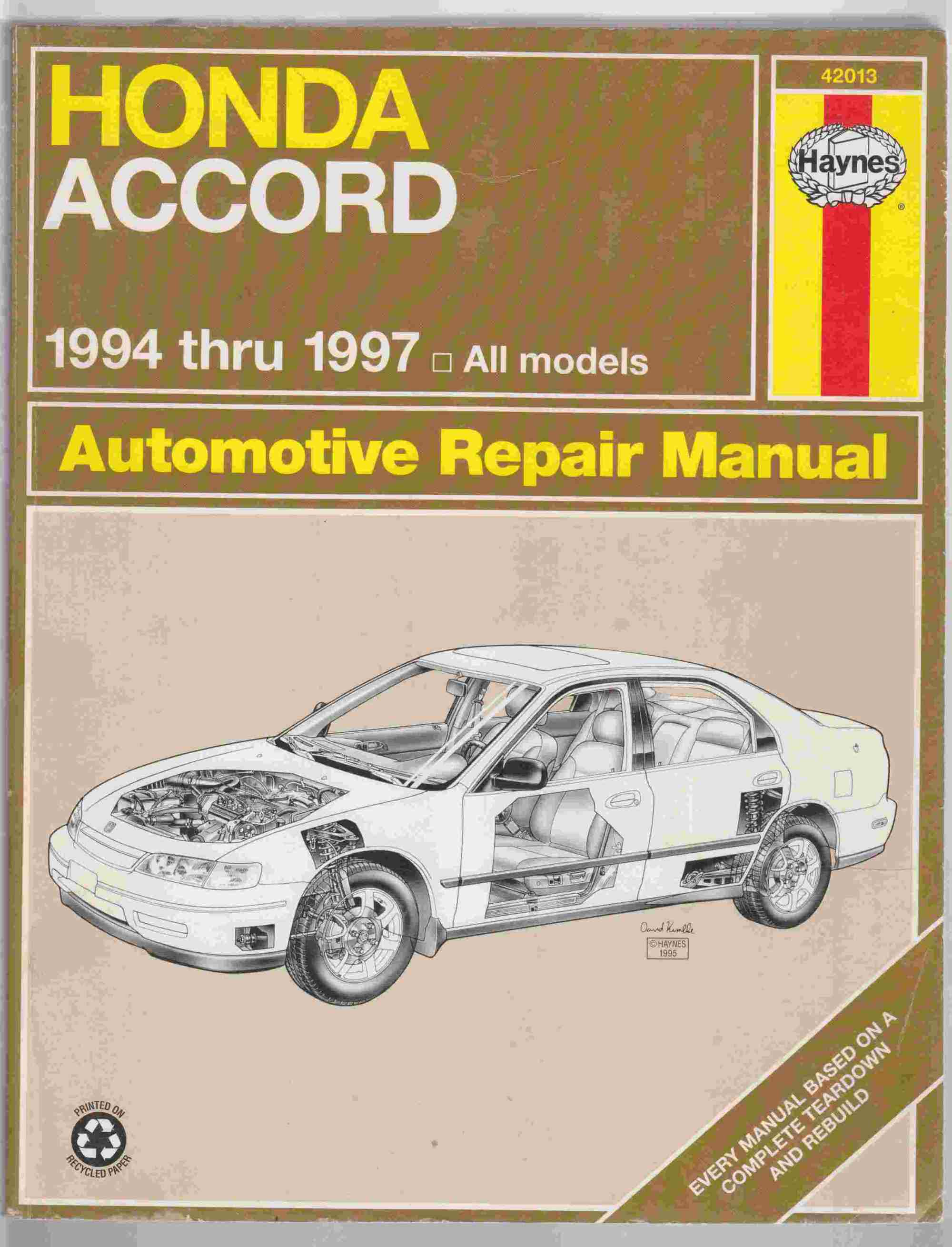 hight resolution of image for honda accord 1994 thru 1997 automotive repair manual