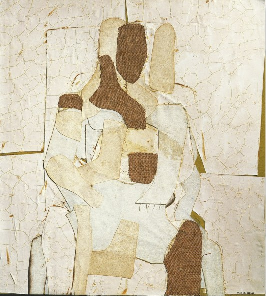 Conrad Marca-Relli, Seated Figure, 1955 collage and mixed media on canvas cm.89 x 81.