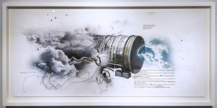 Reversible project to make a storm drawing on paper mixed media watercolor-acrylic, graphite, carbon, pond, spray, color, 90x200cm, 2016, photo-zhang kun