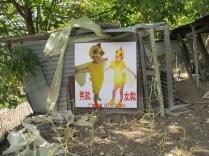 Hen House, veduta dell'installazione presso il pollaio di Casa Sponge (Daniele Pulze, Chick-cartoon-animal-clothes-child-game-service-enfant-wear-performance-font-b-chicken-b-font-baby, 2016) cortesia dell'artista.
