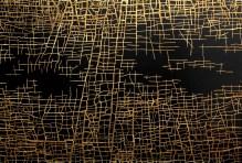 """Massimiliano Galliani, Le Strade Del Tempo"""" #10 2016 acrilico + oro in foglia su tela, cm 100 x 140"""