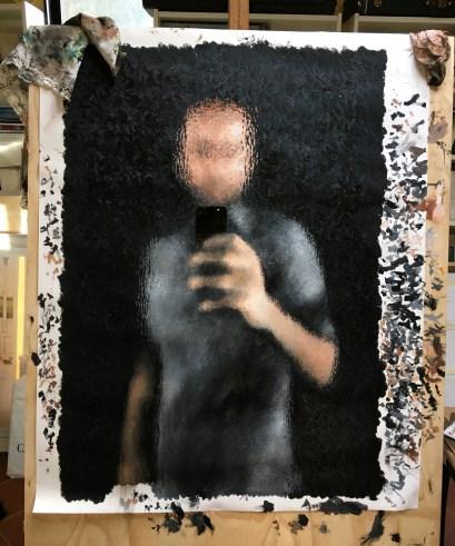 """Massimiliano Galliani, """"Autoritratto riflesso su tela"""" 2017 olio su tela, cm 120 x 80"""