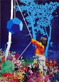 Andrea Mastrovito, Gli amici di Platone, Collage e tecnica mista su tela, 2012-2016, ArteFiera 2017