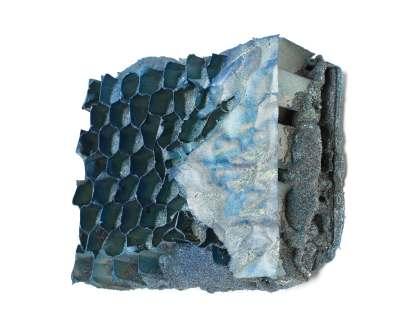 Manuel Grosso, Charta_2B, 2016, strappo, schiume poliuretaniche, sabbia, cartone, acrilicici, tavola, 16x19x4 cm