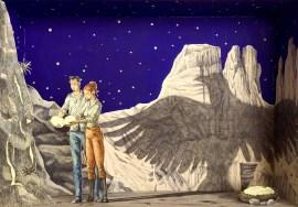 Vanni Cuoghi, Monolocale 66, 2017, Fluoro nel deserto, acrilico e acquerello su carta, cm 35x50 copia