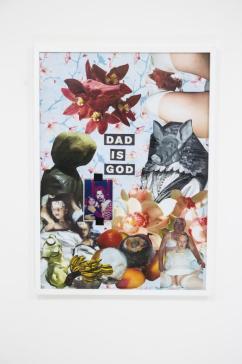 Eva Hide, Dad is God, collage, 2017,cm 50x70
