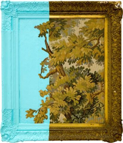 Davide D'Elia, Egli02, 2017, 63x55cm, antifouling paint on old framework and arras