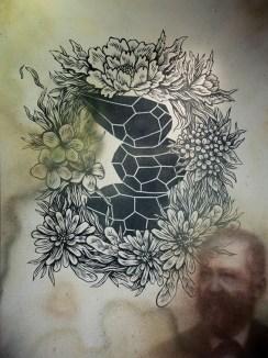 Andreco + Eron + Lucamaleonte, Orione, acrylic + spray on canvas, 200x150cm, 2016, Courtesy Traffic Gallery