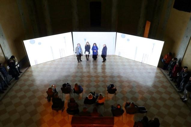 Presentazione 1 - Da sx Aqua Aura, Chiara Serri, Elisabetta Farioli, Andrea Pesaro