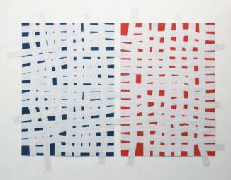 Carlo Colli, Recompose Blue 3H50M+Red1H51M, 2017, pittura blu:rossa strappata su carta e nastro americano bianco, 100x70cm. ciascuno, (installazione dimensioni variabili).