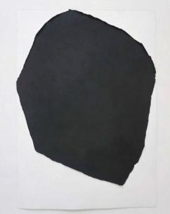 Carlo Colli, Skin N147, 2018, pittura nera strappata su carta, 100x70cm.