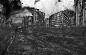 Christian Leperino, Cityscape8, 2010, acrilico su pvc, 157x240 cm