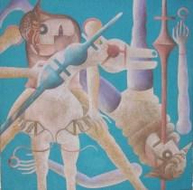 Piero Paladini, medioevo contemporaneo n¯ 7 80x80 2016 acrilico su yuta