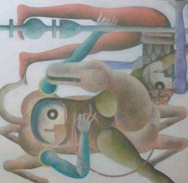 Piero Paladini, medioevo contemporaneo n ¯ 5 80x80 2016 acril su yuta