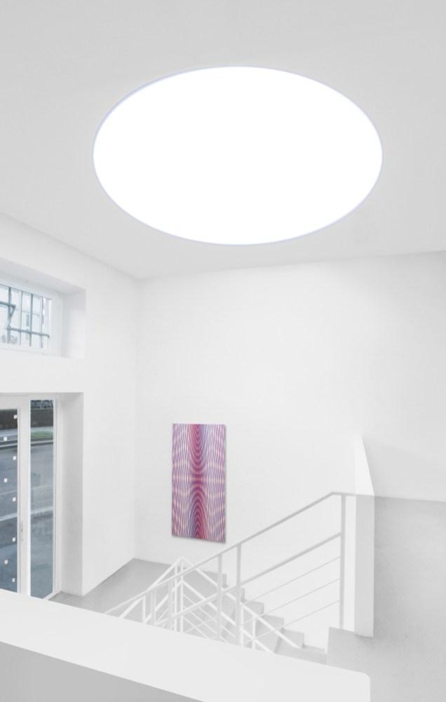 L'Occhio Filosofico. A arte Invernizzi, Milano, 2018. (Da sinistra a destra) Philippe Decrauzat, Michel Verjux - © A arte Invernizzi, Milano. Foto Bruno Bani, Milano