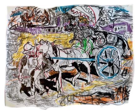 Adriano Annino, Termoclino Coleman, Carretto a vino, 2018, grafite su carta, cm 36x27