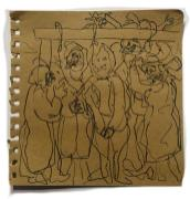 Adriano Annino, Termoclino Gericault, La forca, 2018, graphite and marker on paper, cm 18,5x18,5