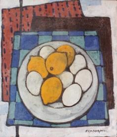 Felice Casorati, Uova e limoni, 1943, tempera all'uovo su tela cm33,5x30