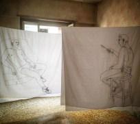 Alberto Torres Hernandez, Nell'atelier dell'artista, ricamo su cotone, dimensioni variabili, 2018