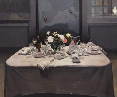Orquín - la tavola dei sivigliani, 100 x 120 cm, olio su tela, 2017