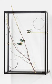 Rebecca Horn, Passing the Moon of Evidence I , 2017 (steel, glass, butter- flies, branch, gold leaf, glass surface 2 circles, brass, motor, elecronic device, 111x70x19 cm)
