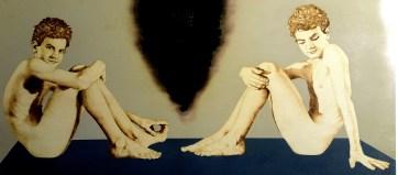 Ivan Romano, Snaeffelsjokull e Stromboli, pirografia e acrilico su legno, 2018