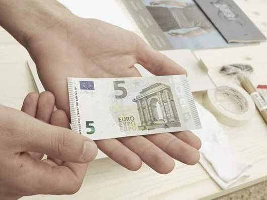 Antonio Della Guardia 5 EURO 2014, stampa su banconota originale