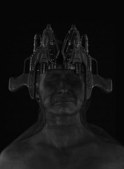 Marco Bolognesi, The dread of Diphda, 2017, collage corporeo, stampa Fine Art su dibond, 100x70 cm