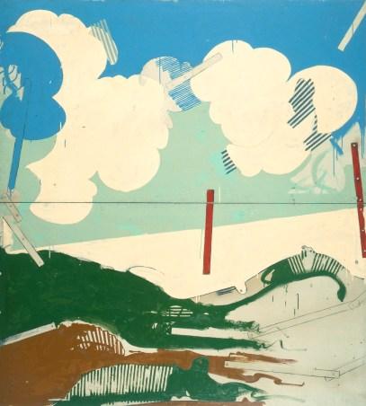 Mario Schifano, Paesaggio anemico II, 1965, smalto su tela / enamel on canvas 220 x 200 cm collezione privata, Courtesy Fondazione Marconi, Milano © Mario Schifano by SIAE 2018