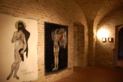 Davide Controni, Davide Controni,Sancta Agnes e Emerentiana. 2010, tecnica mista su blue jeans