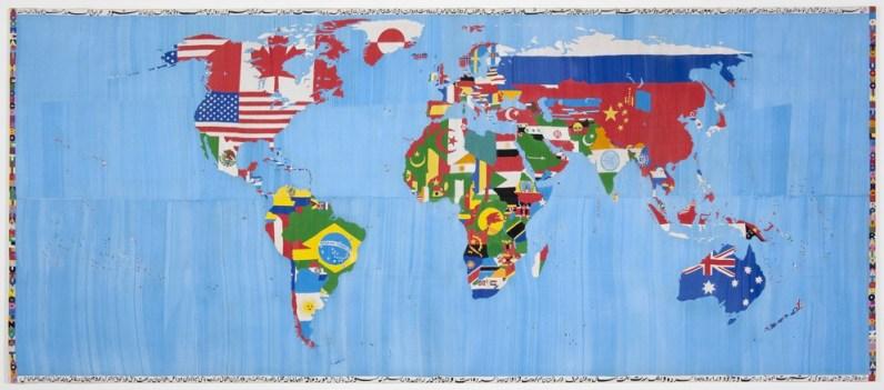 Alighiero Boetti, Mappa, 1989-1992, ricamo su cotone, 254 x 588 cm, Fondazione Boetti