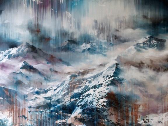 Diffusa nell'aria, acrilico ed olio su tela, cm 120x160, 2014