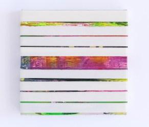 Frammenti_2016_acrilico su nastro carta su legno tondo 24x24 cm