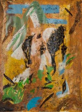 Macchia, Il pavone della luna. tec.mista, cm 200x140