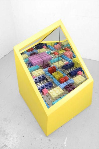 Matteo Negri, 2015, Kamigami box yellow, 88x88x115, chromed iron wood mirror glass