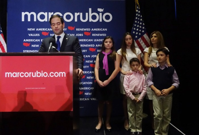 Presidential Candidate Sen. Marco Rubio (R-FL) Holds Primary Night Gathering In Miami