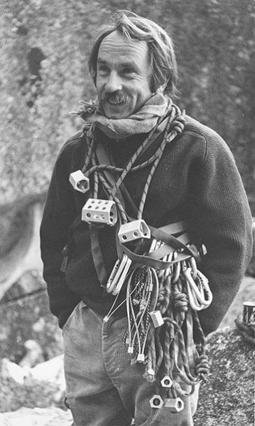 """The """"natural man"""" with his rack of Hexentrics and Stopper clean climbing shocks Yosemite circa 1972 Photos Courtesy Patagonia Archives"""