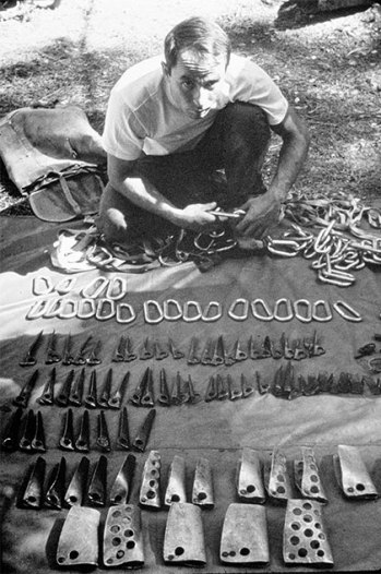 Yvon Chouinard selling Chouinard climbing hardware circa 1960s location Camp 4 Yosemite CA