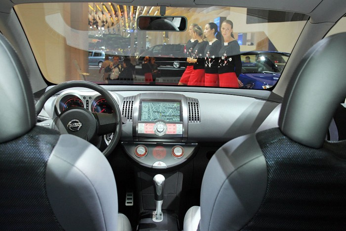 Interior view of the Nissan Tone car wit